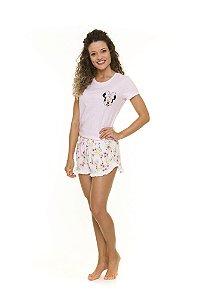 Pijama Short Doll Adulto Minnie Disney - Floral Rosa