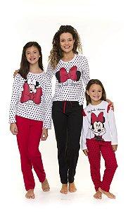 Pijama Minnie- Disney - Coleção Mãe e Filha - Branco Preto e Vermelho