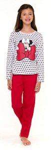 Pijama Juvenil Menina Minnie Branco e Vermelho - Coleção Mãe e Filha