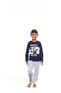 Pijama Infantil Mickey Disney - Azul Marinho e Cinza