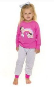 Pijama Infantil Mônica e Magali - Rosa e Cinza - Primeiros Passos
