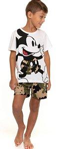 Pijama Infantil Mickey Camuflado Branco e Verde - Coleção Pai e Filho