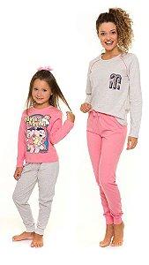 Pijama da Mônica e Magali - Coleção Mãe e Filha - Rosa e Cinza