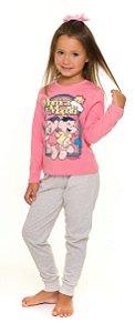 Pijama Infantil Mônica Rosa e Cinza - Coleção Mãe e Filha