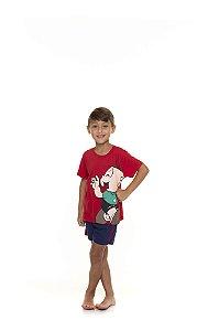 Pijama Infantil Cebolinha - Turma da Mônica - Vermelho e Azul Marinho