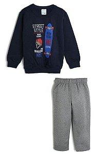 Conjunto de Blusa de Moletom e Calça Skate - Preto e Cinza - Malwee