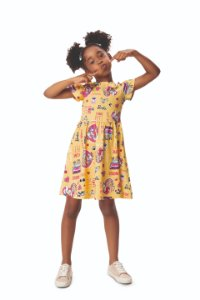 Vestido Infantil Barbie e Unicórnio - Amarelo - Malwee