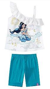 Conjunto Blusa e Bermuda Princesa Jasmine Disney - Branca e Azul - Malwee