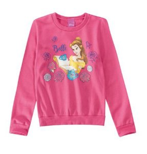 Moletom Felpado Princesa Bela Disney - Rosa - Malwee