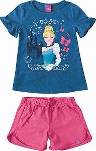 Conjunto Princesa Cinderela - Disney - Rosa e Azul Marinho - Malwee