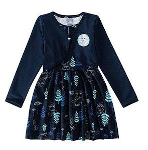 Vestido Infantil Frozen II com Bolero Disney - Azul Marinho - Malwee
