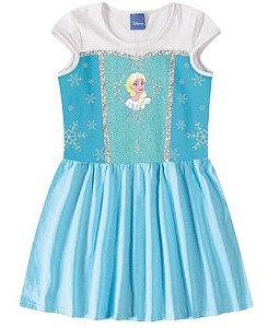 Vestido Infantil Rainha Elsa Disney Frozen - Azul Céu - Malwee