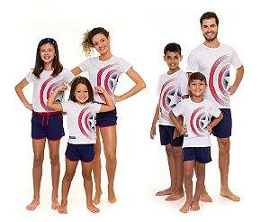 Pijama Capitão América Marvel - Coleção Família - Branco e Azul Marinho