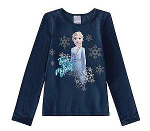 Blusa Rainha Elsa - Disney Frozen 2 - Azul Marinho - Malwee