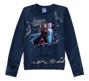 Moletom Felpado - Anna e Elsa - Disney Frozen II - Azul Marinho - Malwee