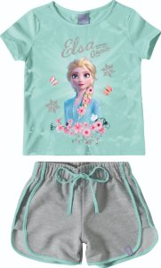 Conjunto Blusa e Shorts Disney Frozen 2 Elsa - Cinza e Azul - Malwee
