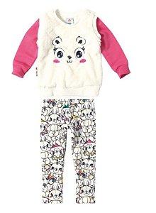 Conjunto Blusa de Moletom e Legging Felpada - Rosa e Off-White - Zig Zig Zaa - Ursinho Panda