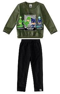 Conjunto de Blusa e Calça Moletom - PJ Masks - Verde e Preto - Malwee