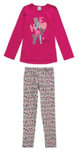 Conjunto Infantil Blusa Legging - Be Happy - Rosa e Cinza - Malwee