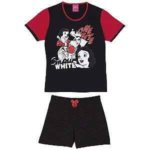 Pijama Infantil Branca de Neve Disney - Preto e Vermelho - Lupo