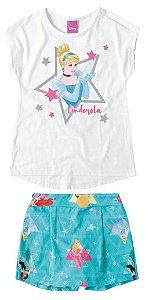 Conjunto de Blusa e Shorts Saia - Princesa Cinderela - Disney - Branca e Azul - Malwee