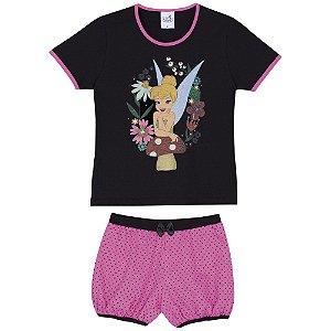 Pijama Infantil Tinker Bell Disney - Preto e Rosa - Lupo