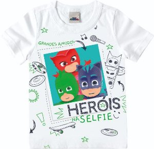 Camiseta Infantil Menino PJ Masks Heróis Branca - Malwee
