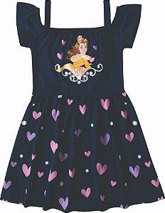 Vestido da Princesa Bela - Princesas da Disney - Azul Marinho
