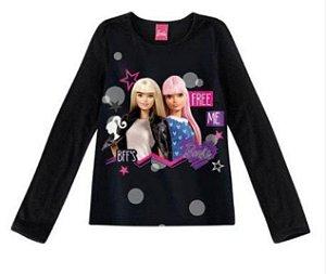 Blusa Infantil Barbie Preta - Malwee