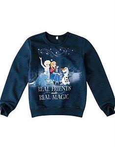Moletom Disney Frozen Anna e Elsa - Azul Marinho - Malwee