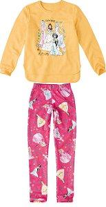 Conjunto de Blusa Moletom e Legging Estampada - Princesas da Disney - Amarelo e Rosa - Malwee