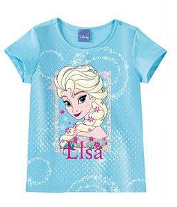 Blusa Frozen Elsa Disney - Azul - Malwee
