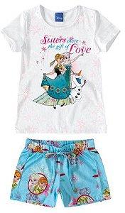 Conjunto de Blusa e Shorts - Elsa - Disney Frozen - Branco e Azul Céu - Malwee
