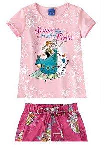 Conjunto de Blusa e Shorts - Elsa - Disney Frozen - Rosa - Malwee