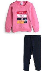 Conjunto Blusa e Calça de Moletom - Rosa e Azul Marinho - Malwee Kids