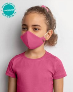 COMBO Blusa Rosa Baby Look e Kit 2 Máscaras Viroblock® Infanto Juvenil - Anti Viral Malwee Protege