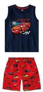 Conjunto Mcqueen - Carros - Azul Marinho e Vermelho - Malwee