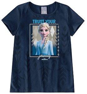 Blusa Frozen 2 Disney Rainha Elsa  - Azul Marinho - Malwee