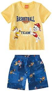 Conjunto Infantil Camiseta e Bermuda Patrulha Canina - Amarelo -Malwee
