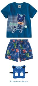 Pijama PJ Masks Menino Gato Com Máscara - Azul - Malwee