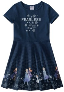 Vestido Frozen II  Anna e Elsa - Disney - Azul Marinho - Malwee