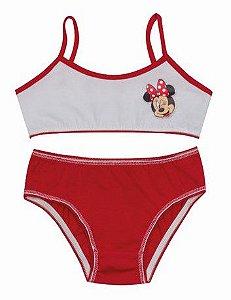 Conjunto de Top e Calcinha - Minnie - Disney - Branca e Vermelha
