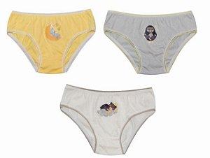 Kit 3 Calcinhas Infantil - Linha Bichinhos - Off-White Cinza e Amarelo