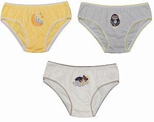 Kit 3 Calcinhas Infantil Bichinhos Off-White Cinza e Amarelo