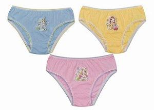 Kit 3 Calcinhas Princesas da Disney - Azul, Rosa e Amarelo - Infantil
