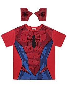 Camiseta Homem Aranha Com Luva - Vermelha - Fakini