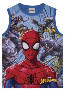Regata Infantil Homem Aranha Azul Marvel - Fakini