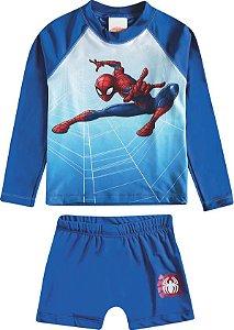 Conjunto Proteção UV 50 FPS  - Homem Aranha - Azul - Tiptop