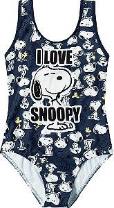Maiô Snoopy Proteção UV 50 - Azul e Branco - Malwee