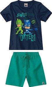 Conjunto Camiseta e Bermuda PJ Masks - Azul e Verde - Malwee